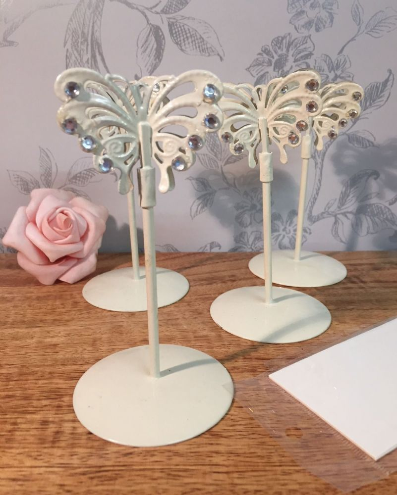 Handcrafted Metal Butterfly Place Card Holders - Set of 4